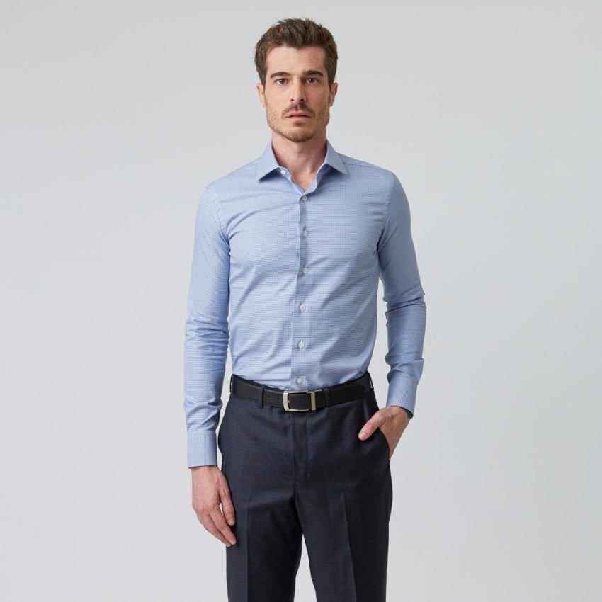 Camisa de Twill Xadrez Azul Royal e Celeste 3307